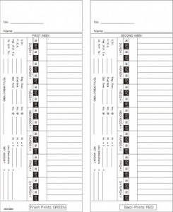 Time Card Bi-Weekly Double Sided Timecard AMA5400 Box of 1000