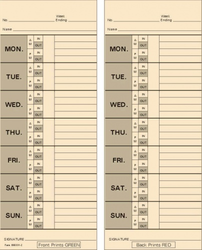 Card Acroprint  BiWeekly Double Sided Timecard  Box Of
