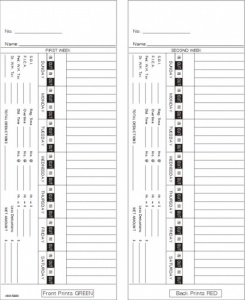 Time Card Amano 3600 Bi-Weekly Double Sided Timecard AMA5400 Box of 1000