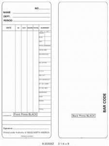 Time Card Isgus Perfect 2030 Time Clock Box of 1000