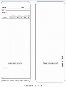 Time Card Isgus Perfect 2040 Time Clock Box of 1000